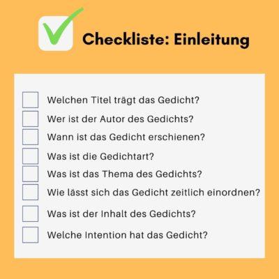 Gedichtanalyse - Checkliste Einleitung
