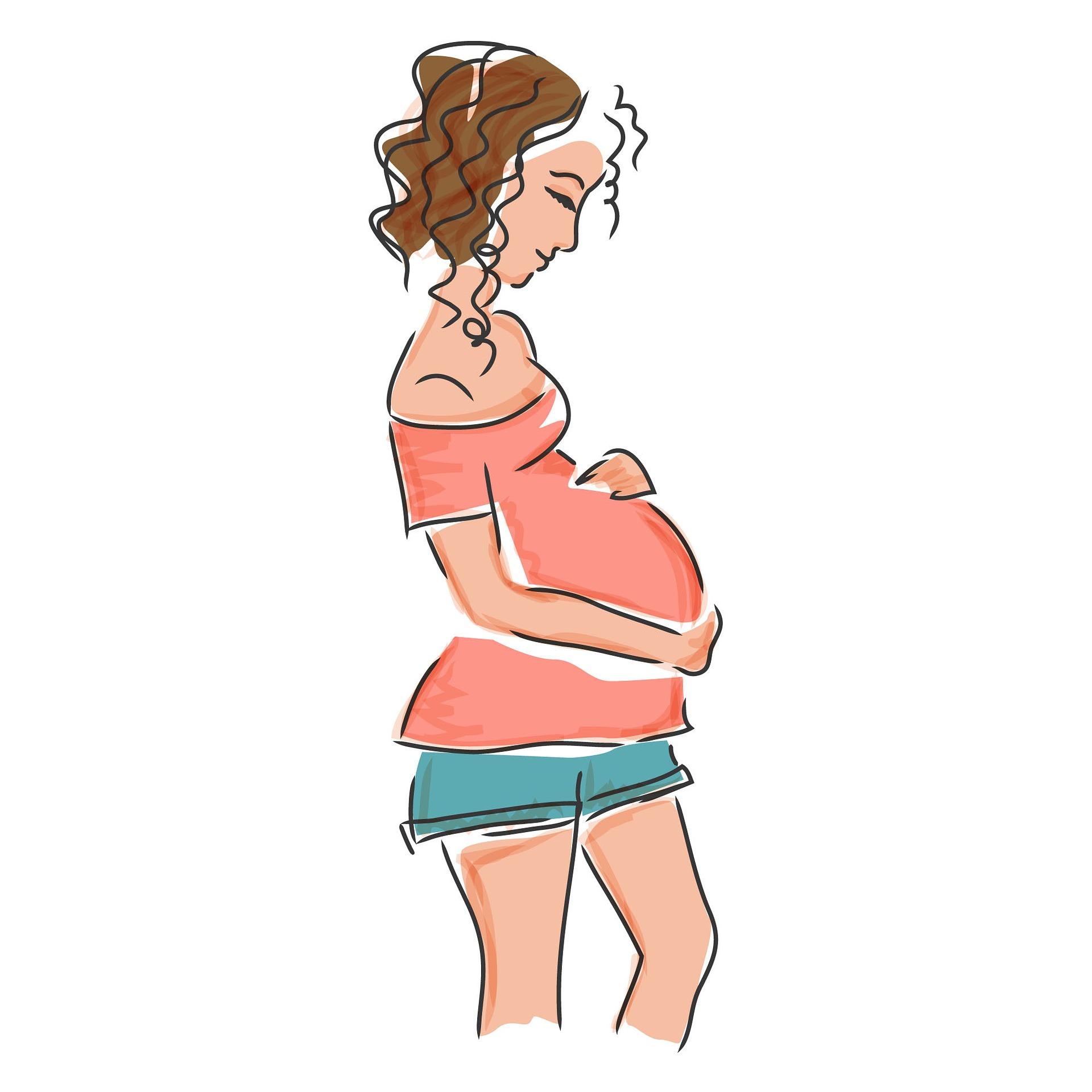 Zeichnung einer schwangeren Frau