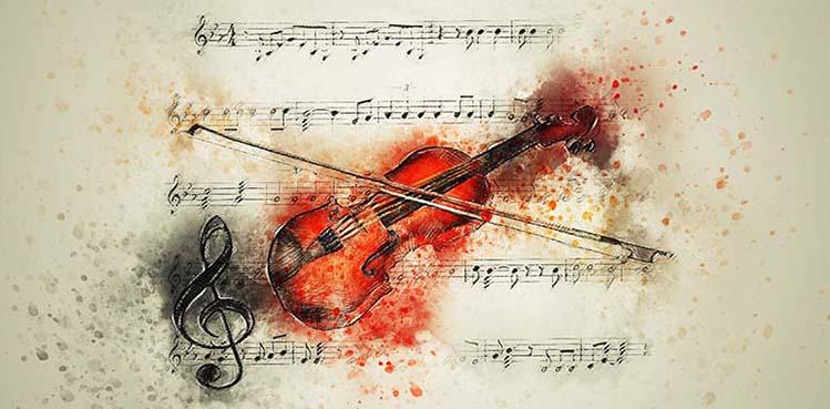 Violine und Musik-Noten
