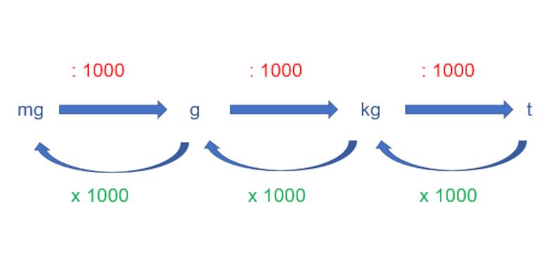 Gewicht umrechnen - Schaubild