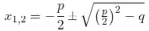 PQ-Formel, Berechnung Nullstelle