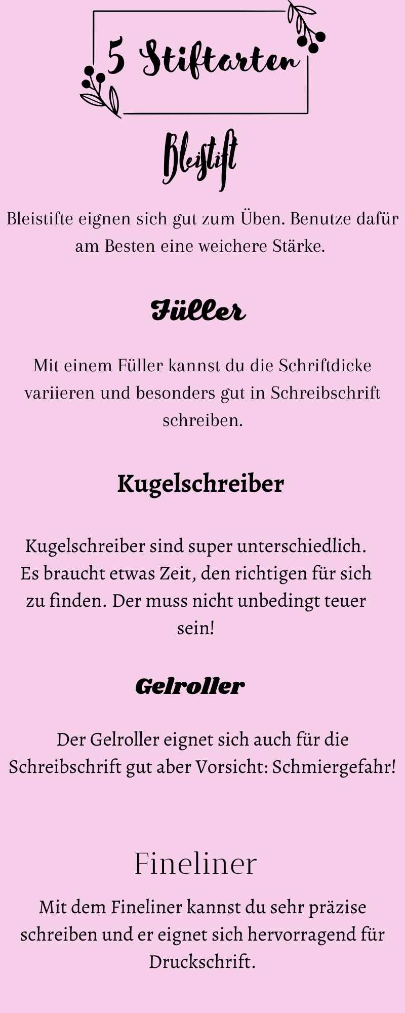 Schönere Handschrift - 5 Stiftarten