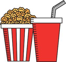 Popcorn und Getränk