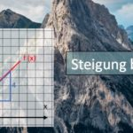 Koordinatensystem mit linearer Funktion vor Berg