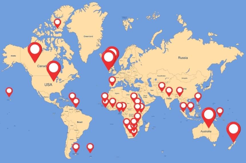 Weltkarte Englisch