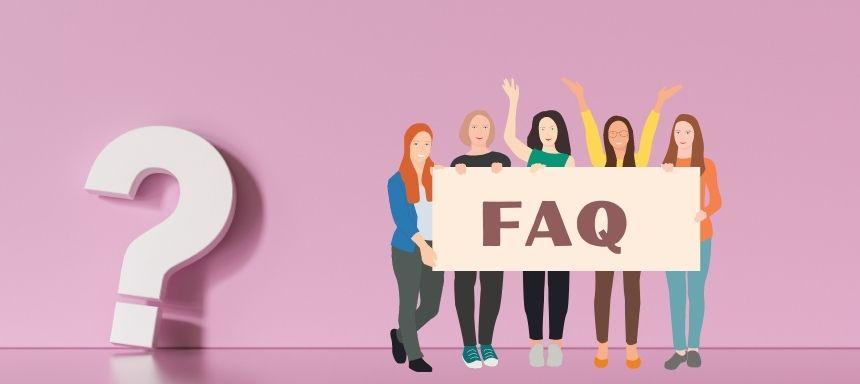 rosa Hintergrund, links steht ein Fragezeichen, rechts daneben stehen fünf Frauen mit einem Schild wo FAQ steht