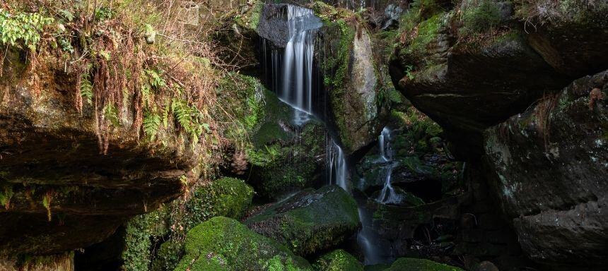 Blick auf den Wasserfall in Lichtenhain