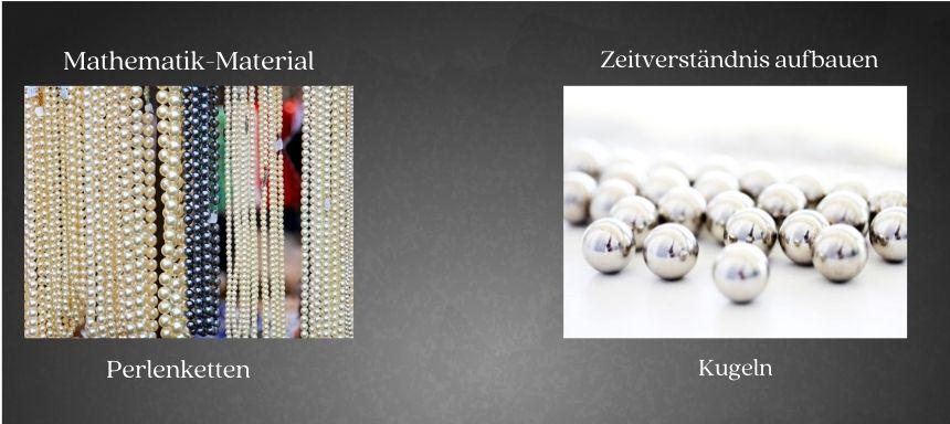 links sind Perlenketten zu sehen für Mathematik und rechts Kugeln zum Lernen des Zeitverständnisses