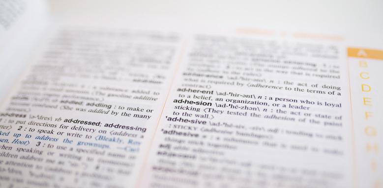 Aufgeschlagenes Wörterbuch