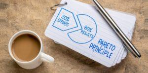 Pareto Prinzip Tasse Karteikarten