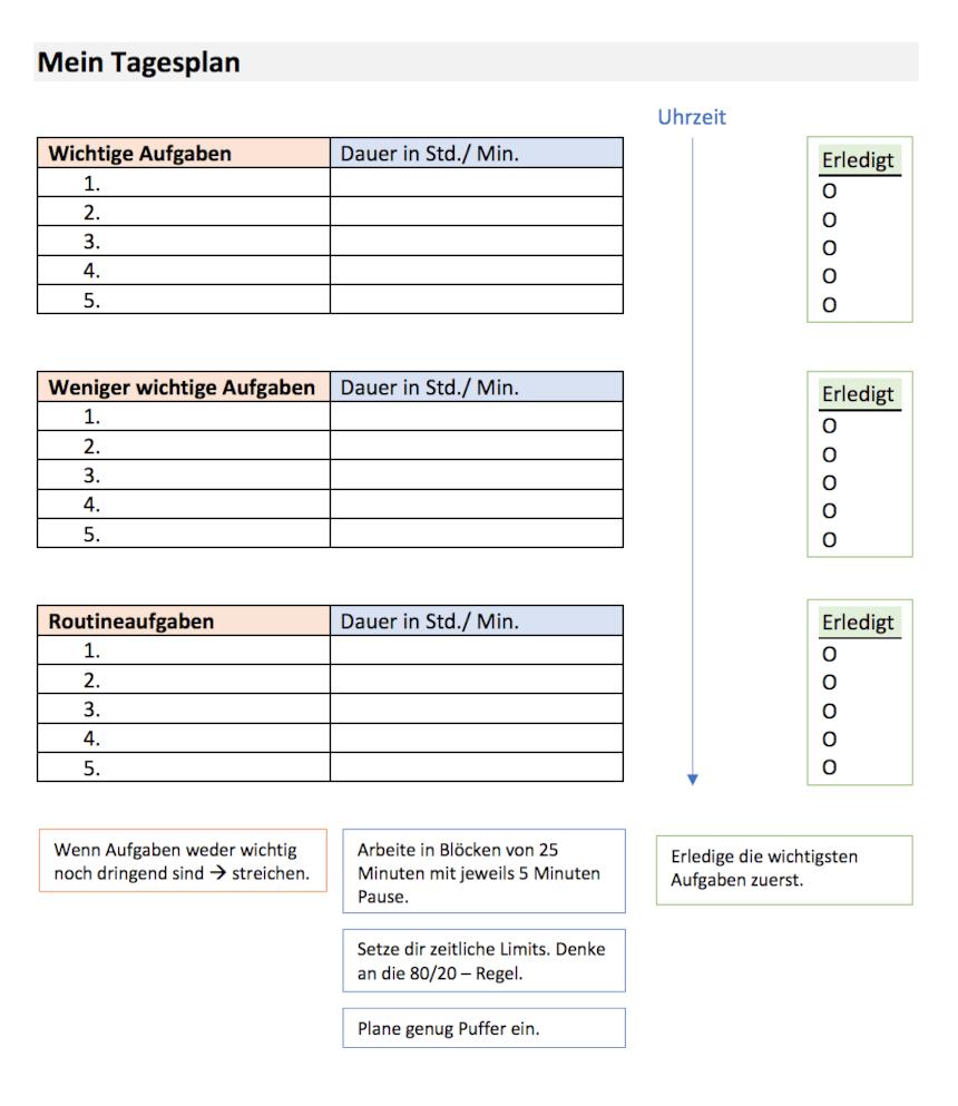 Tagesplan Beispiel